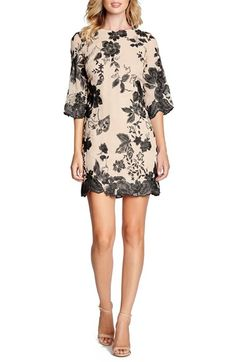 Dress the Population 'Paige' Metallic Embroidered Chiffon Shift Dress | Nordstrom