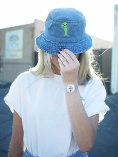 Embroidered Alien Bucket Hats Available in Denim by ShopButterface b3fb7e3fde4b