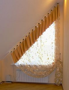 shaped curtains on a triangular window made by ger 39 s curtains blinds pinterest. Black Bedroom Furniture Sets. Home Design Ideas