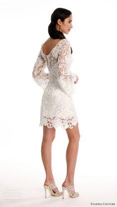 eugenia couture joy bridal spring 2017 long bell sleeves scoop neck lace short wedding dress (maya) bv sccop back