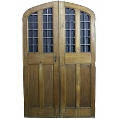Pair of Arched Oak Double Doors with Leaded Glass Panel, circa 1900 For Sale