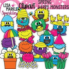 Spring Happy Monsters Clipart with Chicks Ducks Frog Butterfly