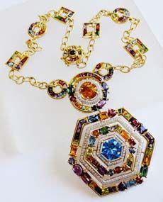 Bellarri Dutchess Multi Gemstone Necklace w/ Removable Large Pendant featuring Multi Gems and Diamonds P1024/BTM - $7495
