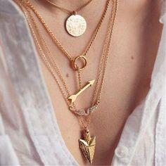 Gold Arrow Pendant Choker Necklace