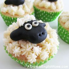 A Typical English Home: Sheep Cupcake Tutorial - use black and white Queen Ready-to-Roll icing.