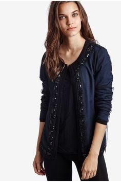 Long-sleeve Cardigan with Tulle Overlay and Jewel Embellishment - Intimissimi