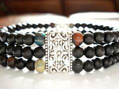 3 Stranded Mala Bead Bracelet Ebony Mala by peaceofminejewelry, $30.00