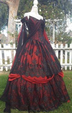 In Stock Gothic Wedding Belle Red/black lace Fantasy Gown! Wedding Dress Black, Goth Wedding Dresses, Gown Wedding, Bridesmaid Dresses, Pretty Dresses, Beautiful Dresses, Lace Dresses, Vampire Wedding, Fantasy Gowns