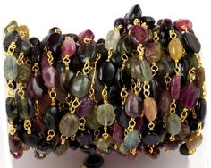 5 Feet Multi Tourmaline Smooth Oval Rosary Style Beaded Chain 24k Gold Plated #luctsa #Smooth
