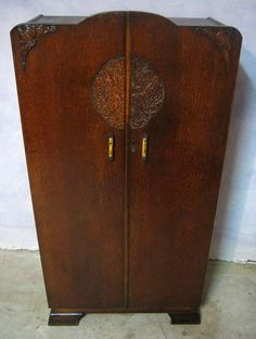 antique art deco tiger carved oak 2 door wardrobe armoire art deco figured walnut wardrobe vintage