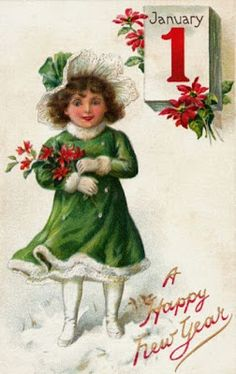 A very happy New Year card Vintage Greeting Cards, Vintage Christmas Cards, Christmas Gift Tags, Christmas Images, Vintage Holiday, Christmas Art, Vintage Postcards, Christmas Stocking, Vintage Happy New Year