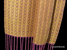 Old Gold and Dusty Rose Dress Scarf, Hand Woven Light Summer Scarf /// LoomOnTheLake