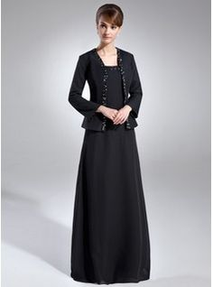 A-Line/Princess Square Neckline Floor-Length Beading Sequins Zipper Up Regular Straps Sleeveless Yes Black Spring Fall General Plus Chiffon Mother of the Bride Dress