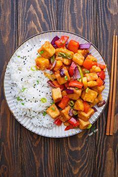 Crispy Pineapple Tofu — The Yummy Vegan Vegetarian Options, Vegan Vegetarian, Vegan Food, Going Vegan, Ratatouille, Tofu, Noodles, Pineapple, Vegan Recipes