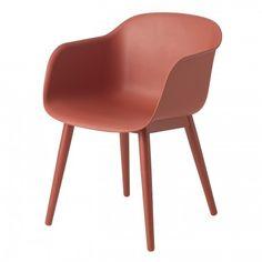 Fiber Armchair Wood eetkamerstoel Muuto rood
