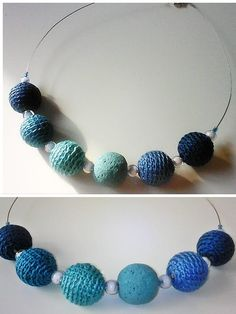 Hand crocheted beads 100% cotton+ a turquoise volcanic rock bead+ glass beads, one of a kind