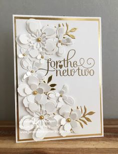 Wedding card using Stampin Up's For the New Two and Botanical Builder Framelits by Jan McQueen. More info @ www.janscreativecorner.blogspot.com