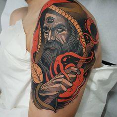 'El Brujo'  Enjoy a lot doing this kind of characters Done with @revolutionneedles @killerinktattoo @hustlebutterdeluxe  #tattooistartmagazine #inkedmag  #thebesttattooartists