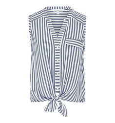 Ricki Striped Tie Crop Shirt Navy / Porcelain Stripe - Womens Fashion | Forever New