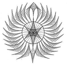 Nerinai.eu - nėriniai, mezginiai, nėrinių brėžiniai, pamokos bei patarimai - simegrafijos technikos pavyzdžiai God's Eye Craft, Art N Craft, String Art Tutorials, String Art Patterns, Contemporary Art Forms, Arte Linear, String Wall Art, Sacred Geometry Art, Art Worksheets