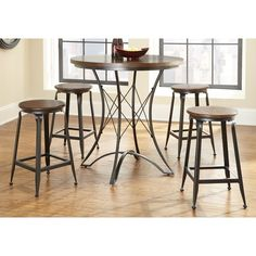 Shop for Carbon Loft Johansson Counter Height Pub Table Set. Get free delivery On EVERYTHING* Overstock - Your Online Furniture Shop! Get in rewards with Club O! Counter Height Table Sets, Pub Table Sets, Counter Height Stools, Bar Stools, Round Dining Set, 5 Piece Dining Set, Dining Table In Kitchen, Dining Tables, Space Kitchen