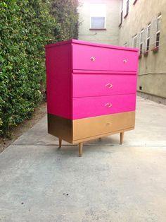 Gold-dipped Hot Pink Mid Century Modern Tallboy https://www.etsy.com/listing/163652446/gold-dipped-hot-pink-mid-century-modern?ref=trending_item&utm_content=bufferb8af3&utm_medium=social&utm_source=twitter.com&utm_campaign=buffer