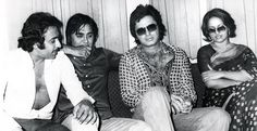 Reena Roy sharing a memorable moment with her co stars (from left) Ranjeet, Sunil Dutt and Sanjay Khan at a 70s event.