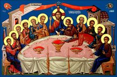Serhei Vandalovskiy - Last Supper Last Supper Art, Roman Church, Russian Icons, Byzantine Icons, Orthodox Christianity, Holy Week, Art Icon, Sacred Art, Christian Art