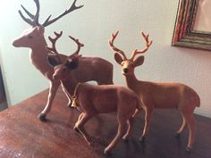 Brown Flocked Christmas Reindeer Family by LottieDottieVintage on Etsy