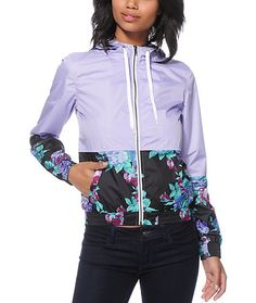 Keep in lush style rain or shine with this lavendar and floral print windbreaker that features a lightweight poly exterior to protect against wind and moisture.