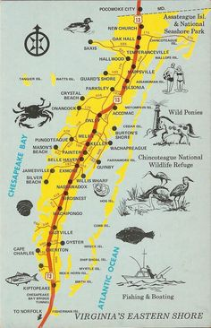 Map of the eastern shore portion of Virginia