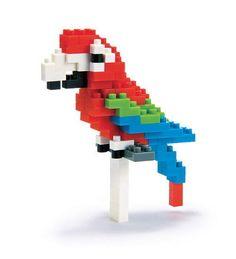 Nanoblock - Red & Green Macaw - micro-sized construction set