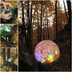 What a great idea. The lights ball give yourgarden a little mystery, particularly at night, it gives out special effect. You may be able to find this clear glass globe at flea market. What you need: Glass gazing ball Colored LED light Click below link for instruction: Lighted gazing ball mounted in an old log