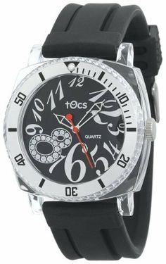 Tocs Women's 40711 Analog Sporty-Diver Black Watch Tocs. $50.00. Water-resistant to 99 feet (30 M). Rotating Chrome Ratchet bezel. Black sports ladies poly-plastic impact resistant case. Three-hand Japanese quartz analog movement. Water resistant silicon resin strap with buckle clasp