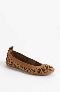 $69, Brown Leopard Suede Ballerina Shoes: Yosi Samra Foldable Ballet Flat Leopard 6 M. Sold by Nordstrom. Click for more info: https://lookastic.com/women/shop_items/80455/redirect