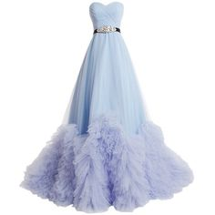 Dresstells Sweetheart Tulle Wedding Dress Prom Dress with Train ($202) ❤ liked on Polyvore featuring dresses, gowns, long dresses, blue dresses, tulle dress, prom dresses evening gowns, blue ball gown and prom gowns