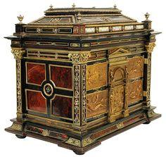 Antique Enamel Mounted Ebonized Jewelry Chest Table Cabinet