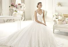 Honorable A-line Spaghetti Straps Lace Sweep/Brush Train Tulle Wedding Dresses : Wedding Dresses, Bridesmaid Dresses, Gowns Online Shop,   Aisle Style UK