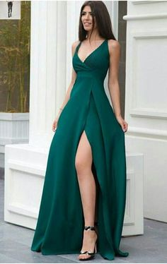 A line green prom dress with side slit Long prom dress long prom dress satin prom dress 4244 V Neck Prom Dresses, Gala Dresses, Dress Outfits, Sexy Dresses, Green Prom Dresses, Wedding Dresses, Casual Dresses, Long Dresses, Wrap Dresses