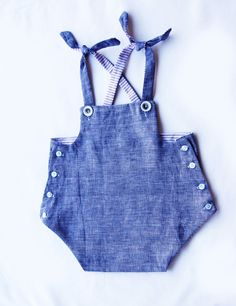 Unisex vintage inspired lined button overalls. by burrowbabywear