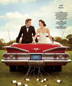 Bride and groom in red vintage wedding car - Joy Ride editorial design concept - A Look Inside the New Issue of Washingtonian Bride & Groom (Photos) | Wedding Dresses | Washingtonian
