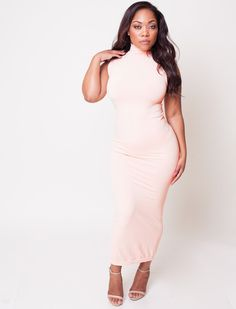 Nude Peach Turtleneck Bodycon Maxi Dress (fits up to plus) – Babes And Felines