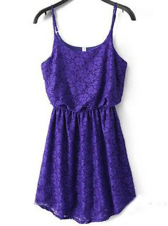 Purple Spaghetti Strap Floral Crochet Pleated Dress pictures