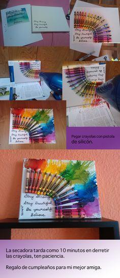 crayon art, arte en carola, draft, regalo, present, ideas, for my best friend, para mi mejor amiga.
