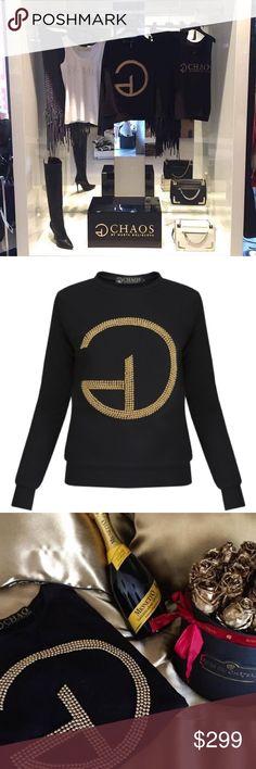 Handmade beautiful black sweater with gold perls Handmade beautiful black sweater with gold perls 🌟🌟🌟🌟🌟 size small ! Balmain Sweaters
