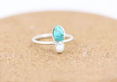 Sterling Silver Turquoise and Pearl Ring | Raw Turquoise |Boho |Bohemian Gemstone Ring | December Birthstone Ring | Saggitarius & Cappricorn
