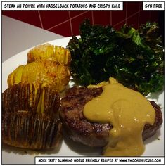 This proper posh tea is steak au poivre (pepper sauce), crispy kale and hasselback potatoes - syn free and all delicious! Perfect slimming world fodder! Healthy Snacks For Diabetics, Healthy Eating Recipes, Clean Eating Snacks, Healthy Food, Slimming World Beef, Slimming World Recipes, Steak Au Poivre, Hasselback Potatoes, Low Carb Breakfast