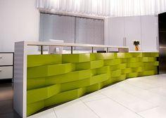 cool green Caesarstone reception desk