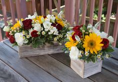 Birthday party flower arrangements with sunflowers red roses white lisianthus and white veronica. Birthday party flower arrangements with sunflowers red roses white lisianthus and white veronica. Sunflower Wedding Decorations, Sunflower Centerpieces, Sunflower Arrangements, Sunflower Party, Quince Decorations, Rose Centerpieces, Rose Arrangements, Beautiful Flower Arrangements, Bridal Shower Decorations