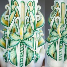 Carved candles  Green candle  Unique candle by primacandle on Etsy